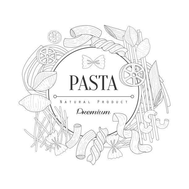 Pasta Assortment Logo Hand Drawn Realistic Sketch Pasta Assortment Logo Hand Drawn Realistic Sketch. Hand Drawn Detailed Contour Illustration On White Background. rotelle stock illustrations