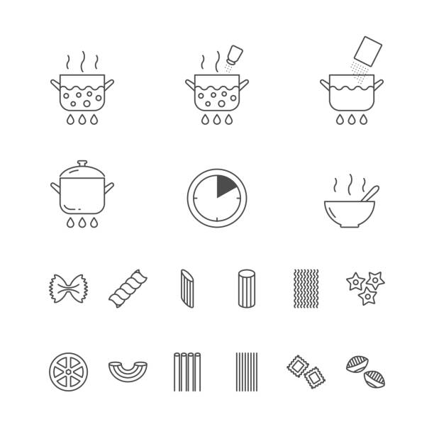 Pasta cooking, pasta types set of outline vector icons Pasta cooking, pasta types set of outline vector icons rotelle stock illustrations