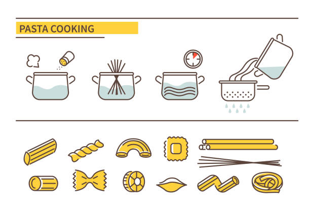 illustrazioni stock, clip art, cartoni animati e icone di tendenza di pasta cooking - pasta