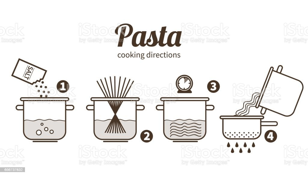 pasta cooking vector art illustration