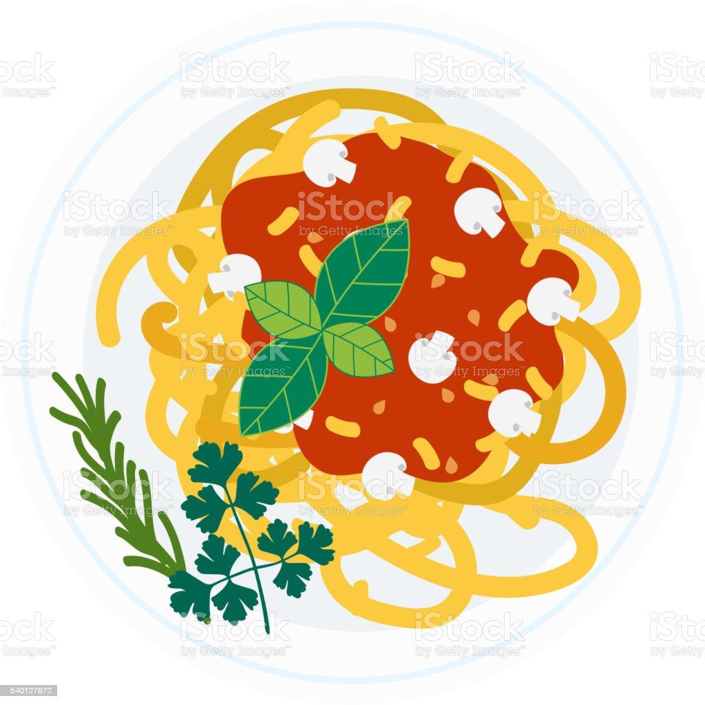 Pasta dish vector illustration. vector art illustration