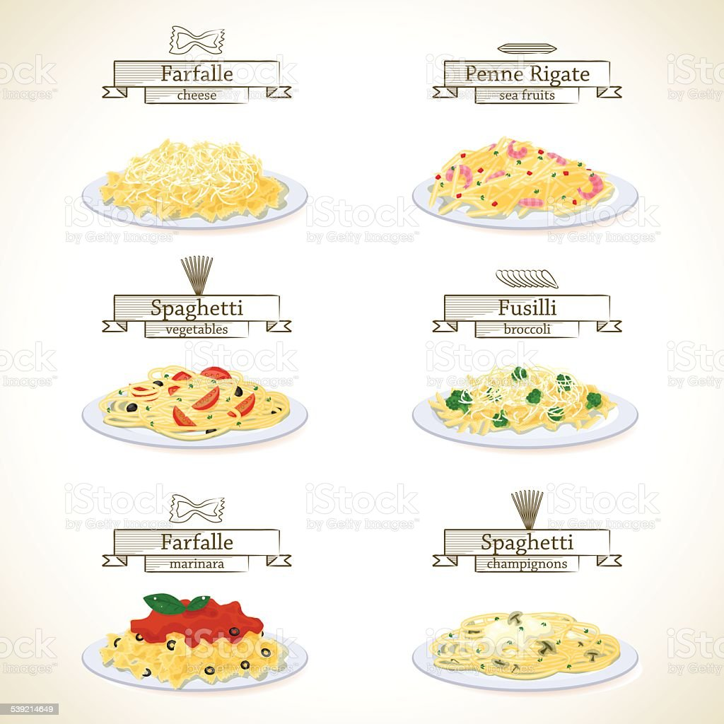 Pasta dishes set vector art illustration