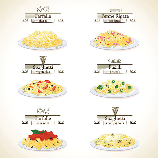 Pasta dishes set Pasta dishes set. Six plates of various pasta with sauces. EPS10 vermicelli stock illustrations