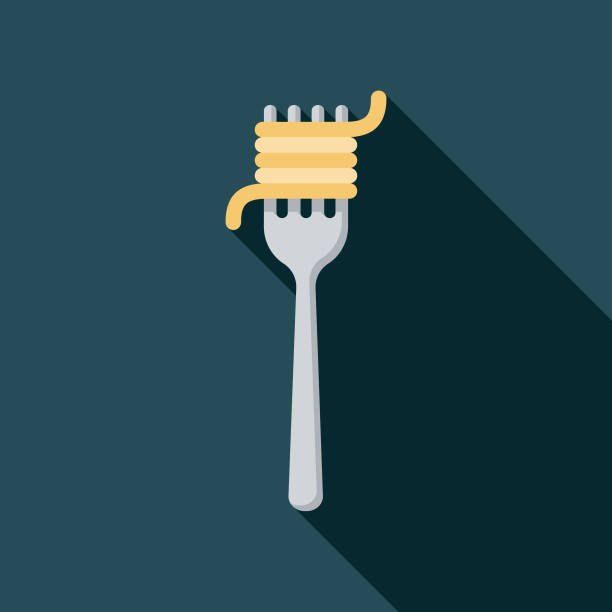 illustrazioni stock, clip art, cartoni animati e icone di tendenza di pasta flat design italy icon - pasta