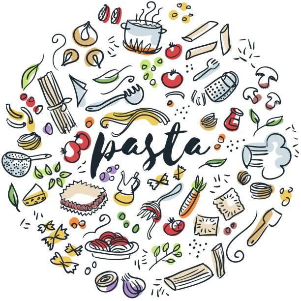Pasta hand drawn design Circular design of pasta drawings cooking drawings stock illustrations
