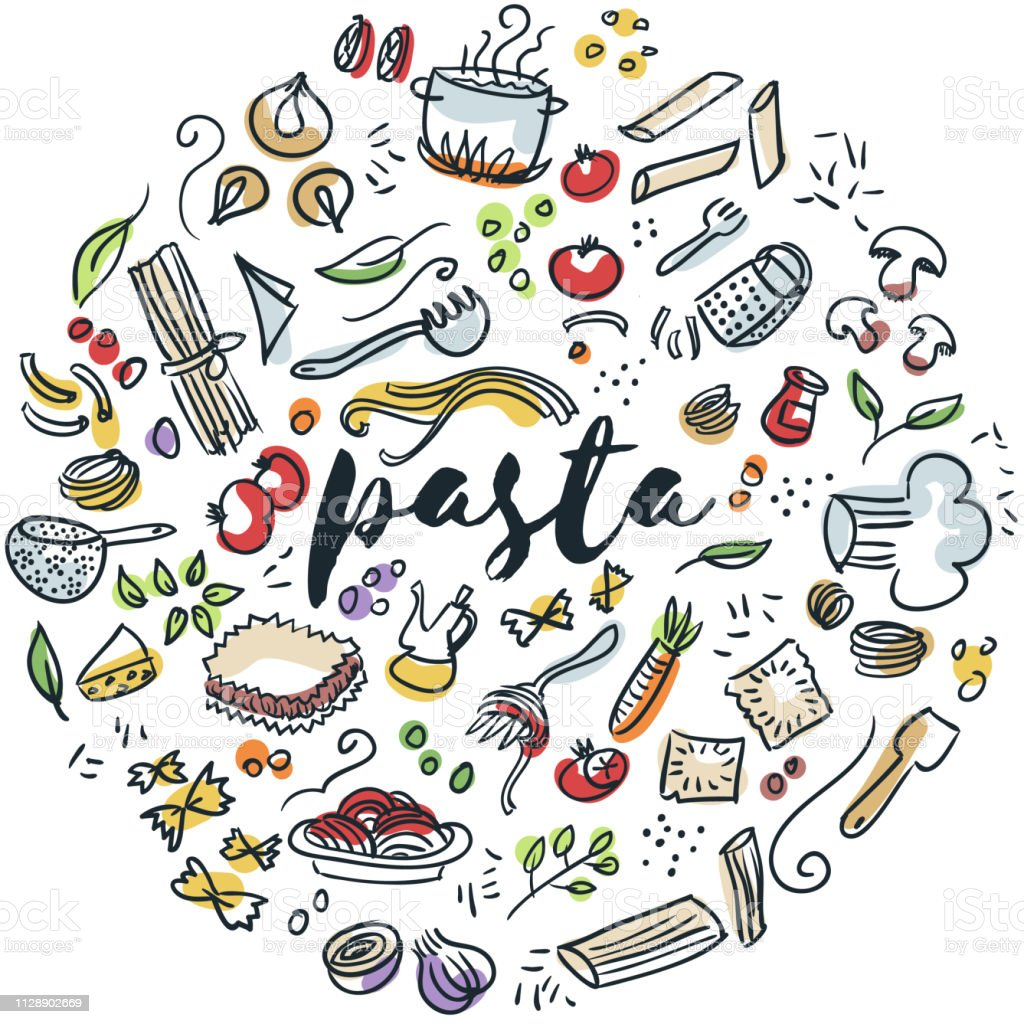 Pasta hand gezeichnete design – Vektorgrafik