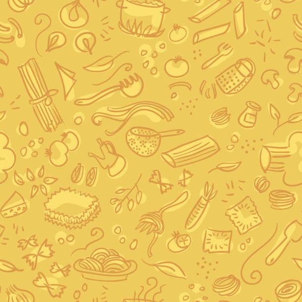 Pasta Hand gezeichnete nahtlose Muster – Vektorgrafik