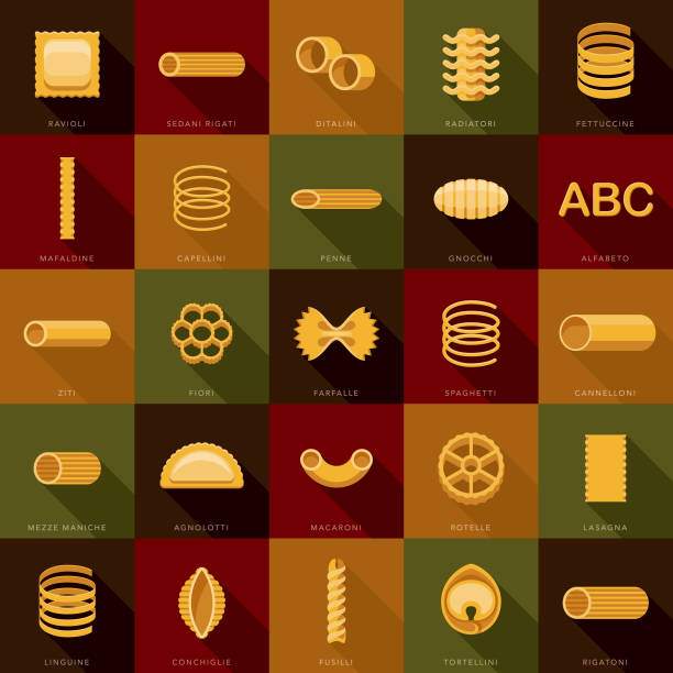 Pasta Icon Set A set of icons. File is built in the CMYK color space for optimal printing. Color swatches are global so it's easy to edit and change the colors. rotelle stock illustrations