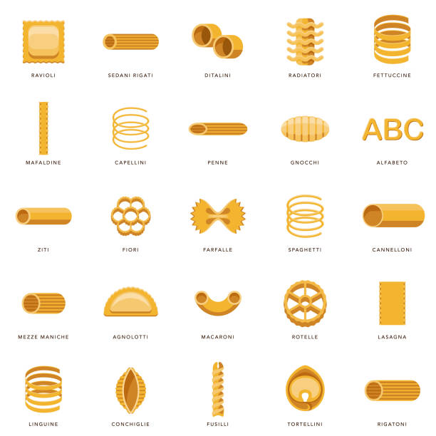 Pasta Icon Set A set of icons. File is built in the CMYK color space for optimal printing. Color swatches are global so it's easy to edit and change the colors. tortellini stock illustrations