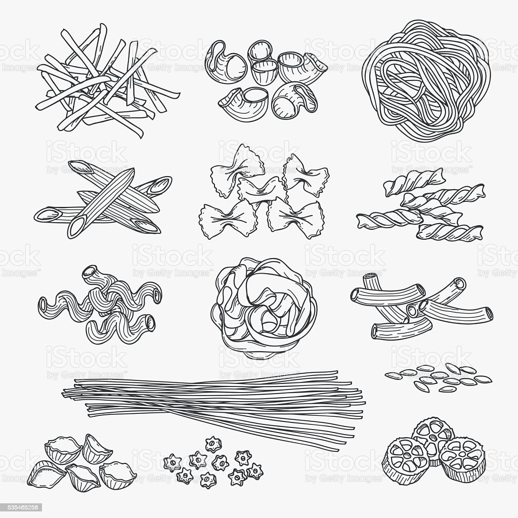 Pasta in hand drawn style Pasta in hand drawn style. Different types of pasta black line icons on white background. Vector illustration Backgrounds stock vector