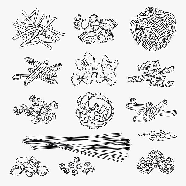 Pasta in hand drawn style Pasta in hand drawn style. Different types of pasta black line icons on white background. Vector illustration tortellini stock illustrations