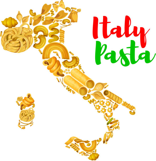 Pasta in map of Italy vector poster Italy map with pasta. Vector poster of Italian macaroni food spaghetti and penne, lasagna, tagliatelli and ravioli, farfalle and pappardelle, creste gallo, stelle and filini, quadretti and cobetti rigati, konkiloni, bucatini and tortiglioni canelones stock illustrations