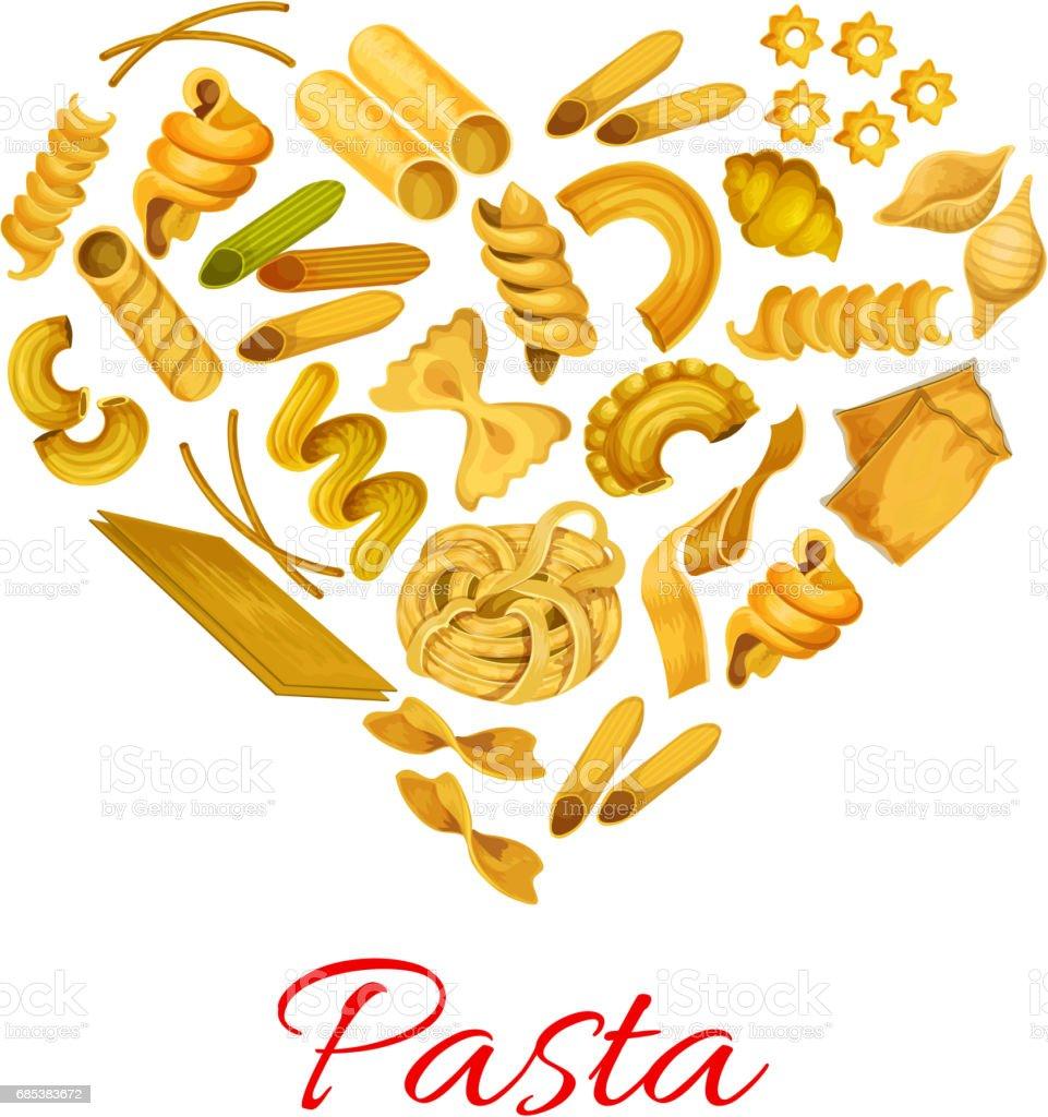 Pasta in shape of heart vector symbol vector art illustration