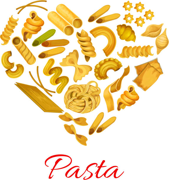 Pasta in shape of heart vector symbol Pasta heart poster of macaroni types. Spaghetti, penne and lasagna, Italian tagliatelli and ravioli, farfalle and pappardelle. Vector quadretti and cobetti rigati, konkiloni, bucatini and tortiglioni, creste, gallo, stelle and filini canelones stock illustrations