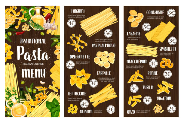 Pasta Italian food menu. Spaghetti, macaroni, herb Pasta, spaghetti and macaroni vector menu of Italian cuisine. Penne, farfalle and fusilli, conchiglie, lasagna and rigatoni, linguine, fettuccine and ditalini with olives, rosemary and garlic frame cannelloni stock illustrations