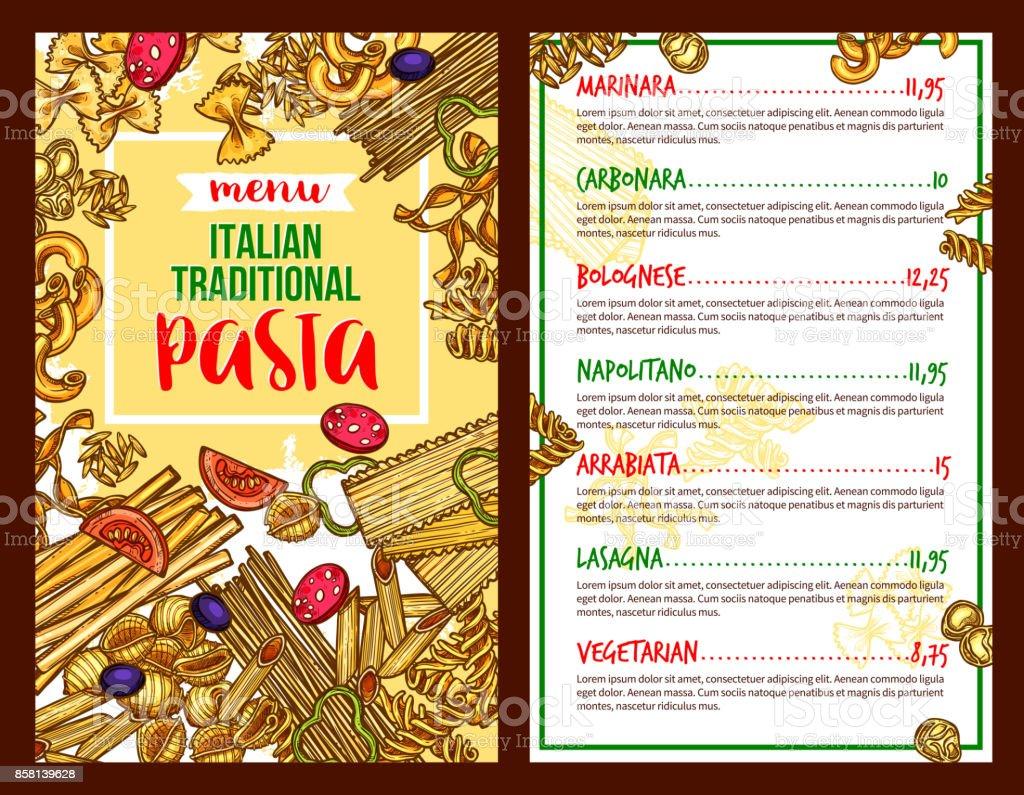 Pasta Italian restaurant vector menu template vector art illustration