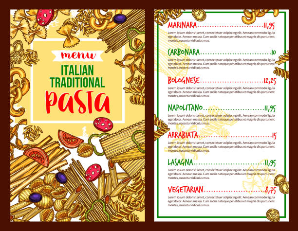Pasta Italian restaurant vector menu template Italian pasta menu sketch for restaurant. Vector spaghetti marinara, fettuccine carbonara or bolognese farfalle and napoletano tagliatelle, arrabiata or vegetarian lasagna. Traditional Italy cuisine canelones stock illustrations