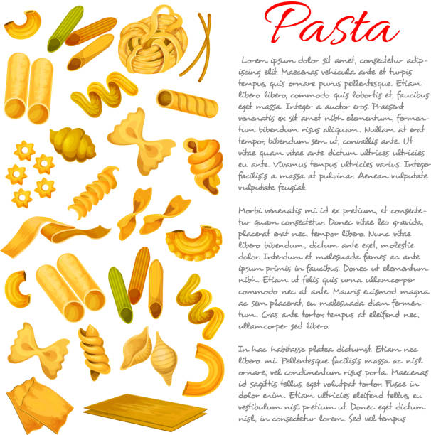 Pasta, macaroni, spaghetti sorts vector poster Pasta sorts types variety. Vector macaroni spaghetti, tagliatelli and ravioli, farfalle penne and lasagna, pappardelle. Italian cuisine konkiloni, bucatini and tortiglioni, quadretti and cobetti rigati. Traditional creste, gallo, stelle and filini canelones stock illustrations