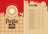 Vector menu for Italian restaurant with pasta nests on a plate, price list and ketchup drops on the background of checkered tablecloth. Pasta menu in flat style