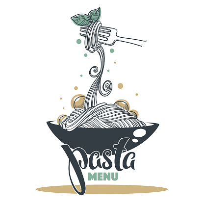 Pasta Menu Hand Drawn Sketch With Lettering Composition For Yout Logo Emblem Label Stock Illustration - Download Image Now