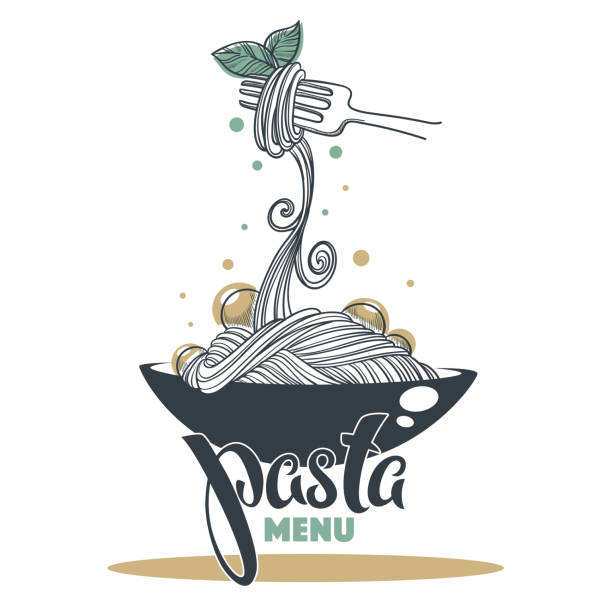 Pasta Menu, hand drawn sketch with lettering composition for yout logo, emblem, label Pasta Menu, hand drawn sketch with lettering composition for yout logo, emblem, label vermicelli stock illustrations