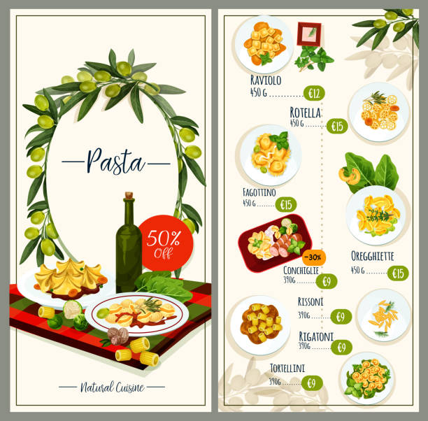Pasta menu of Italian cuisine restaurant tempalte Italian pasta menu template for mediterranean cuisine restaurant. Italian macaroni, spaghetti and ravioli with meat, vegetable and cheese cream sauce, olive, spice, basil and spinach with price list ravioli stock illustrations