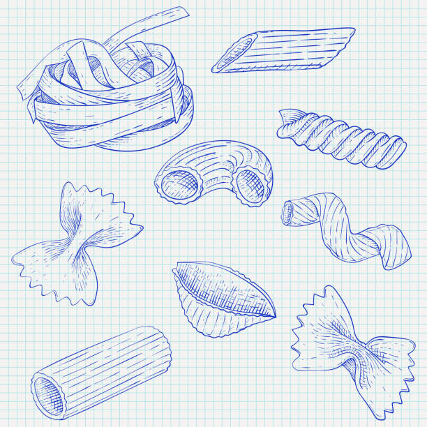 Pasta mix. Hand drawn sketch. Scattered single pieces Pasta mix. Hand drawn sketch. Scattered single pieces. Vector illustration on notebook sheet background fusilli stock illustrations