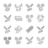 Pasta noodles linear icons set. Italian traditional macaroni. Shaped, dried dough products. Assortment of groceries. Thin line contour symbols. Isolated vector outline illustrations. Editable stroke