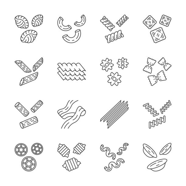 Pasta noodles linear icons set Pasta noodles linear icons set. Italian traditional macaroni. Shaped, dried dough products. Assortment of groceries. Thin line contour symbols. Isolated vector outline illustrations. Editable stroke rigatoni stock illustrations