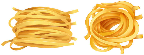 Pasta noodles on white background Pasta noodles on white background illustration tagliatelle stock illustrations