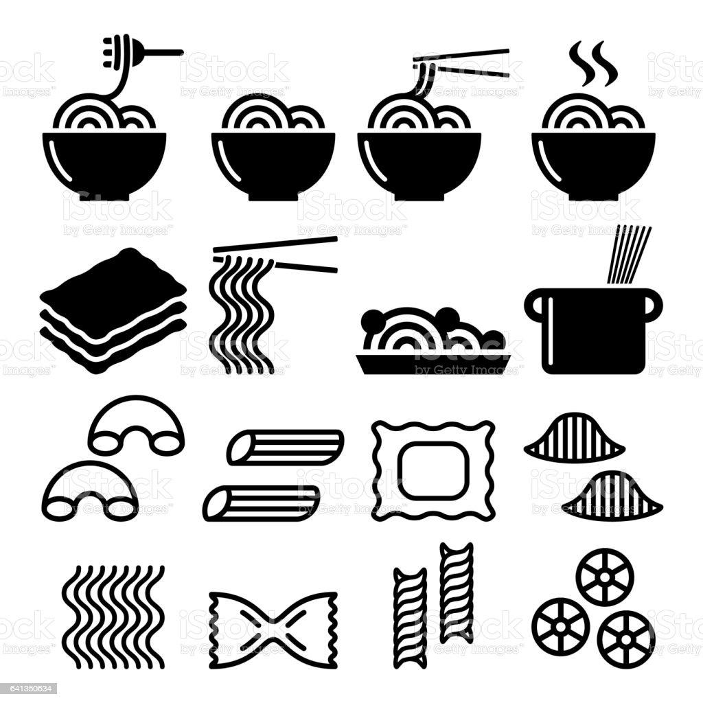 Pasta, noodles, spaghetti - Italian food icons set vector art illustration