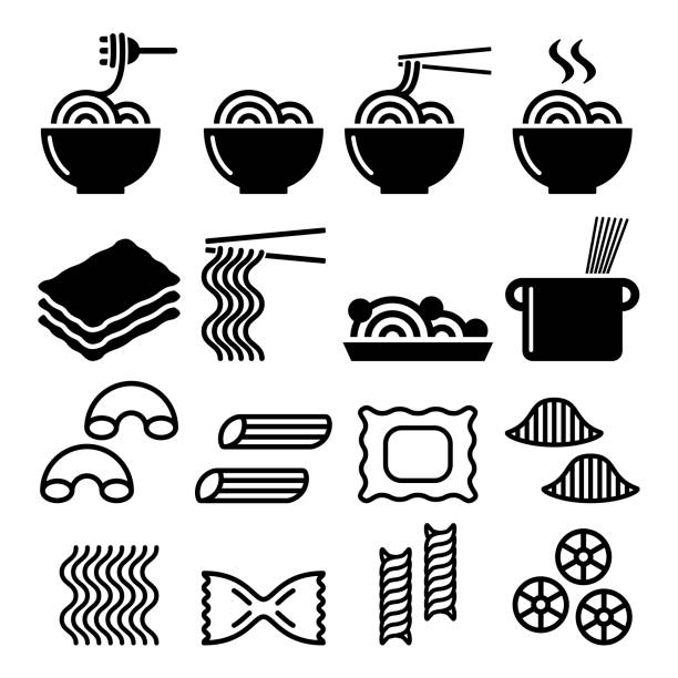 Pasta, noodles, spaghetti - Italian food icons set Vector icons set - different types of pasta design isolated on white rotelle stock illustrations