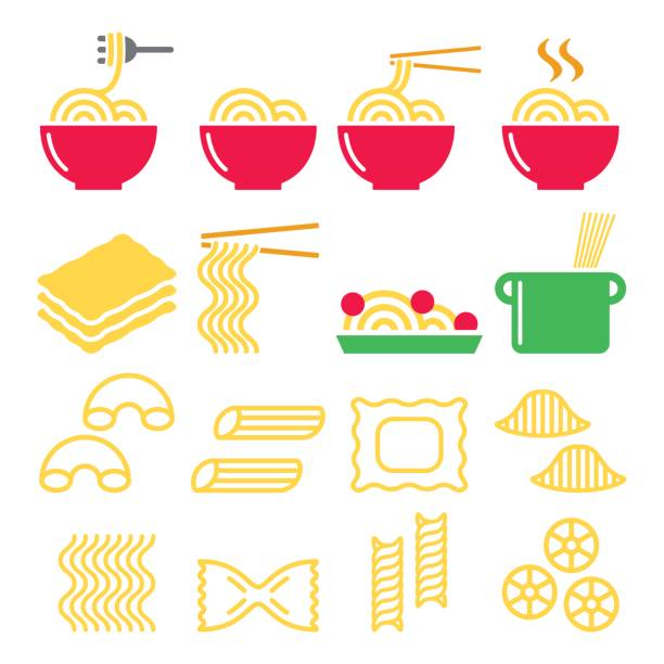 Pasta, noodles, spaghetti - Italian food icons set Vector icons set - different types of pasta design isolated on white conchiglie stock illustrations