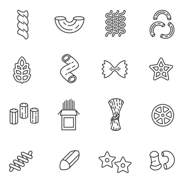 Pasta of different form icons set. Editable stroke Pasta of different form icons set. assortment production, thin line design. linear symbols collection penne stock illustrations
