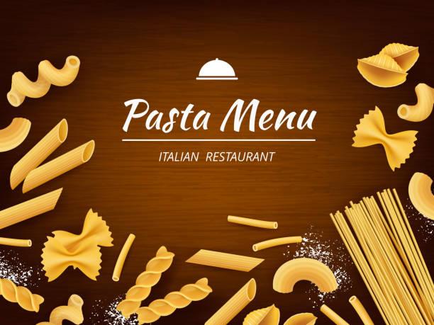 stockillustraties, clipart, cartoons en iconen met pasta op tafel. traditionele italiaanse gerechten macaroni spaghetti fusilli met witte bloem voor het koken van vector realistische achtergrond - tafel restaurant top