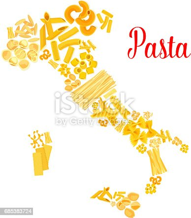 istock Pasta or italian macaroni vector Italy map 685383724