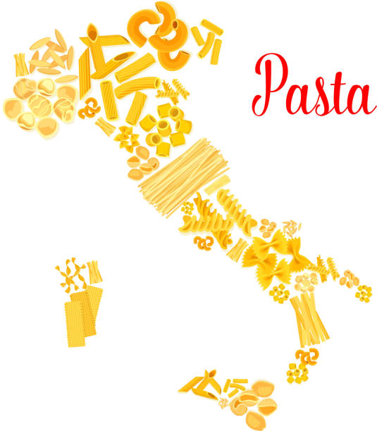 Pasta or italian macaroni vector Italy map Italian pasta poster designed in Italy map shape of macaroni and spaghetti pappardelle or penne, tagliatelli or fettuccine and lasagna, ravioli or konkiloni, rigati rigatoni and farfalle noodles canelones stock illustrations
