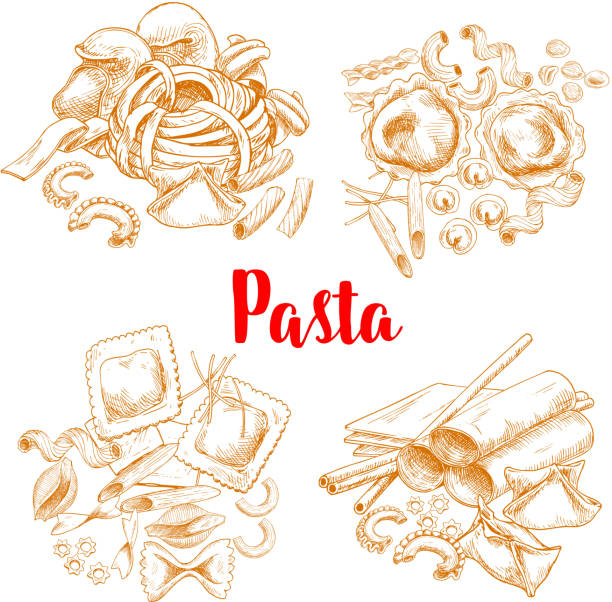 Pasta or italian macaroni vector sketch poster Italian pasta sketch poster or menu design vector template for traditional macaroni cuisine. Spaghetti and pappardelle or penne and lasagna, al dente tagliatelli or fettuccine and ravioli or konkiloni canelones stock illustrations