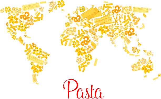 Pasta or italian macaroni vector world map Italian pasta designed in world map. Traditional macaroni and spaghetti fin form of continents. Vector Italy cuisine pappardelle, penne and lasagna, tagliatelli or fettuccine and ravioli or konkiloni canelones stock illustrations