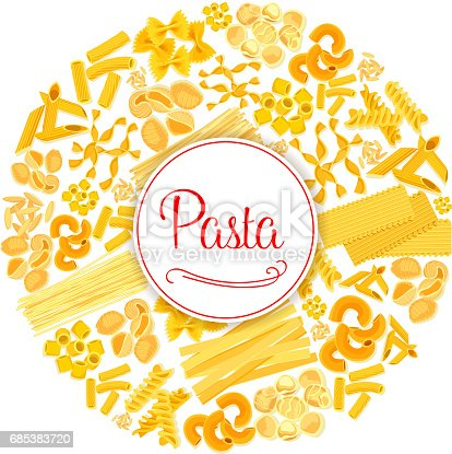 istock Pasta or macaroni vector round Italian poster 685383720