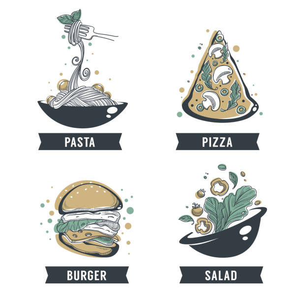 Pasta, pizza, salad and burger, hand drawn sketch with lettering composition for yout logo, emblem, label Pasta, pizza, salad and burger, hand drawn sketch with lettering composition for yout logo, emblem, label vermicelli stock illustrations