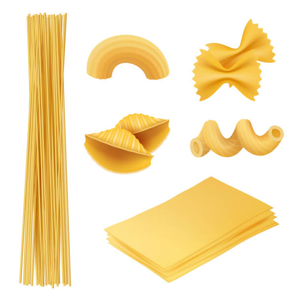 die pasta ist realistisch. italienisches essen farfalle fusilli teigwaren kochen zutaten vektor-bilder der traditionellen küche - spaghetti stock-grafiken, -clipart, -cartoons und -symbole