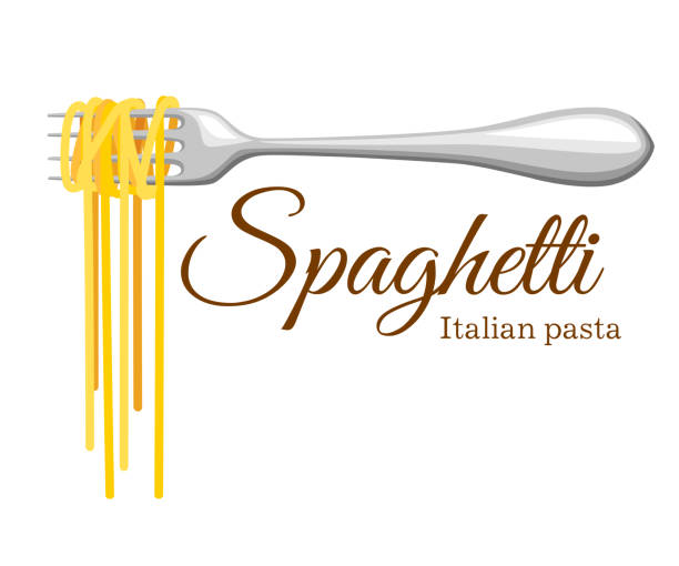 illustrazioni stock, clip art, cartoni animati e icone di tendenza di pasta roll on the fork. italian pasta with fork silhouette. black fork with spaghetti on the yellow background. hand holding a fork with spaghetti. - pasta
