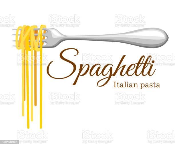 Pasta Roll On The Fork Italian Pasta With Fork Silhouette Black Fork With Spaghetti On The Yellow Background Hand Holding A Fork With Spaghetti - Immagini vettoriali stock e altre immagini di Arte