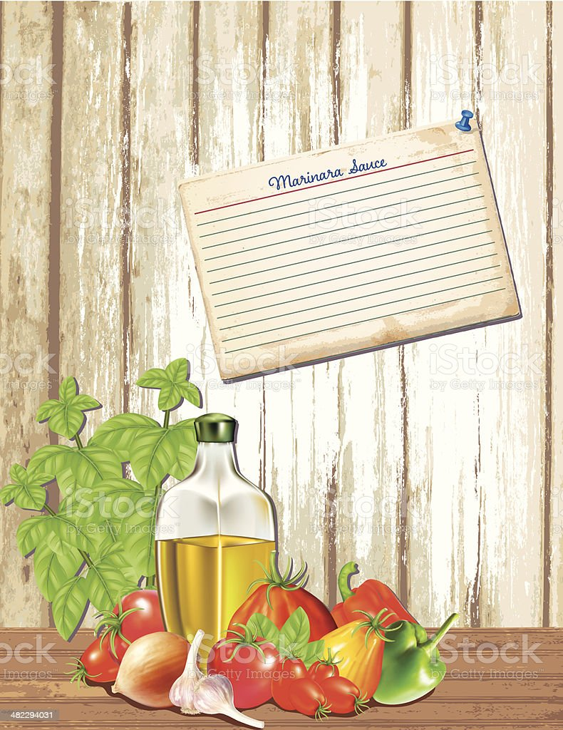 Pasta Sauce Ingredients With Recipe Card vector art illustration