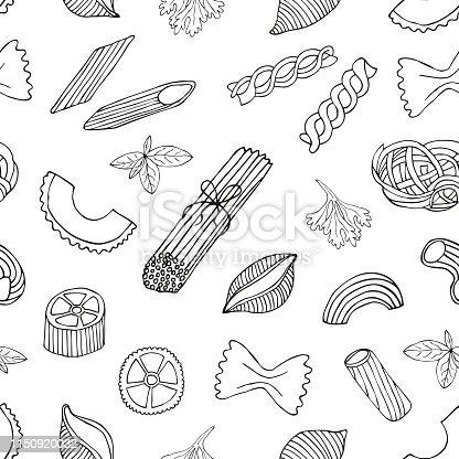 Pasta seamless pattern. Hand drawn vector illustration.