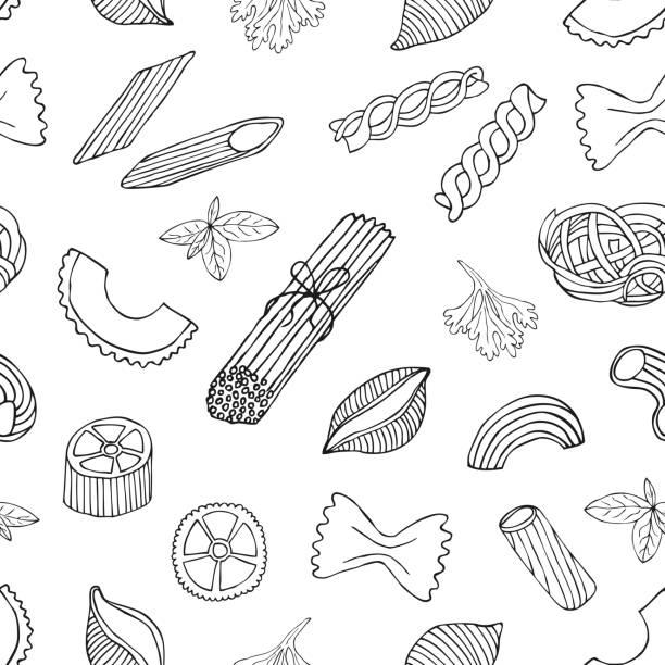 Pasta seamless pattern Pasta seamless pattern. Hand drawn vector illustration. fusilli stock illustrations