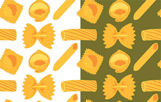 Pasta seamless pattern Set of two pasta pattern. Use this for repetition background and wallpaper! tortellini stock illustrations