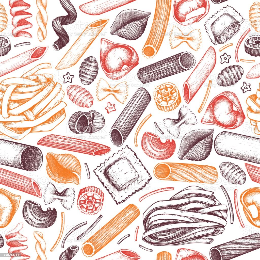 pasta seamless pattern vector art illustration
