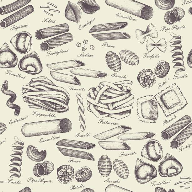 pasta seamless pattern Vector background with traditional Italian pasta sketch.   Vintage seamless pattern with hand drawn food illustrations. Cafe or restaurant menu design tortellini stock illustrations